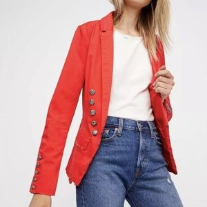 Free people Structured Military Blazer Red Large